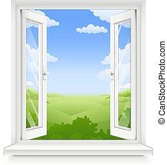 fenêtre, plastique, blanc, rebord fenêtre, classique