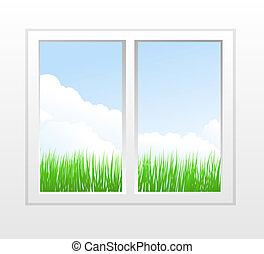 fenêtre, plastique, fermé, vue