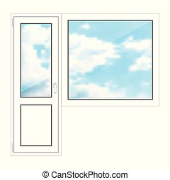 fenêtre, porte, fond blanc