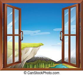 fenêtre, rivière, vue, falaise