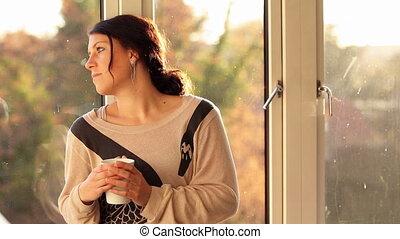 fenêtre, séance femme