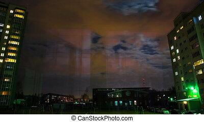 fenêtre, soir, vue