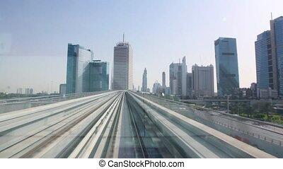 fenêtre, train, en mouvement, monorail, route, vue