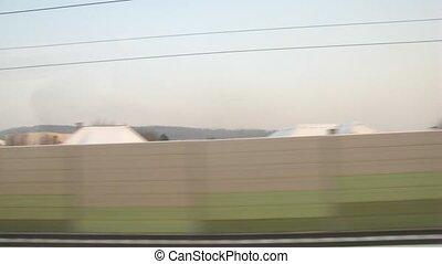 fenêtre, train, en mouvement, vue