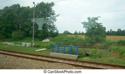 fenêtre, train, vitesse, vue