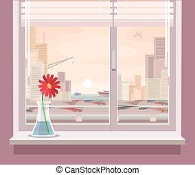 fenêtre, vecteur, illustration, vue