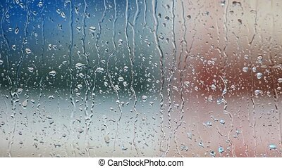 fenêtre verre, gouttes, pluie