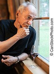 fenêtre verre, homme, personnes agées, vin