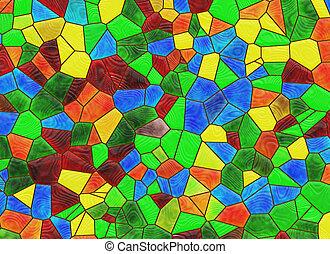 fenêtre verre, taché, arrière-plans, multicolore