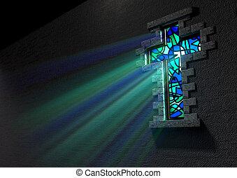 fenêtre verre, taché, crucifix