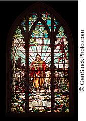 fenêtre verre, taché, jésus