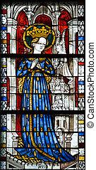 fenêtre verre, taché, religieux, moyen-âge