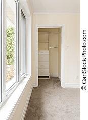 fenêtre, vide, placard, chambre à coucher