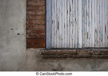 fenêtre, vieux, fermé, volets