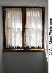 fenêtre, vieux, vue