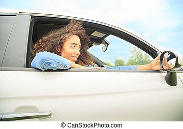 fenêtre voiture, ouvert, girl