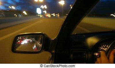 fenêtre voiture, rue, nuit