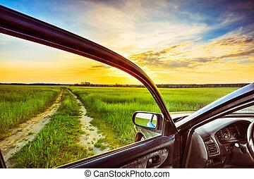fenêtre voiture, vue