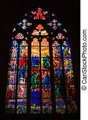 fenêtres vitraux, de, rue. vitus, dans, prague, tchèque, republic.