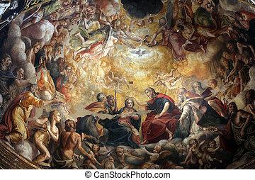 fence., イタリア, 祭壇, parma, フレスコ画, 細部, ドーム, の上, 教会, mary