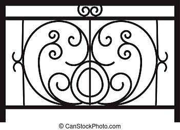 fence., ベクトル, 細工された鉄, バルコニー