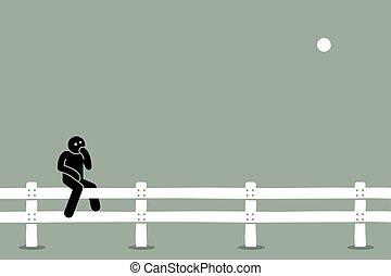 fence., 人間が座る