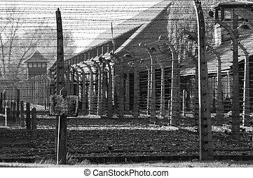 fence., 集中, auschwitz, 营房