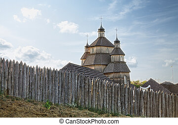 Church in Zaporozhye Sech - Fence and Church in Zaporozhye...