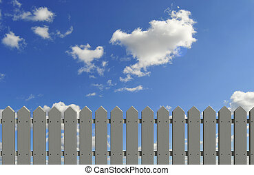 fence and sky - white/gray fence and blue sky