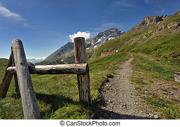 Fence and trail in mountain