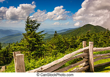 Fence and view of the Appalachians from Mount Mitchell,...