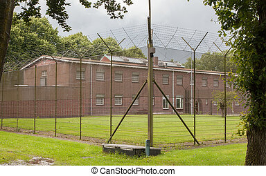 Fence around restricted area, old jail in the Netherlands