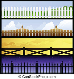 Fence banners - Four banners featuring fences against the...