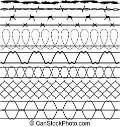 Fence Barbed Wire barbwire - A set of fences and barbed ...