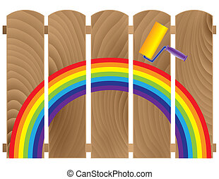 fence boards painted in rainbow
