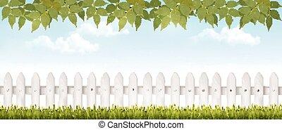 fence., cerca, largo, vector., blanco, pasto o césped,...