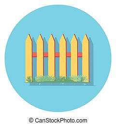fence circle icon with shadow