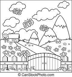 fence., coloritura, prato, legno, casa paese, vettore, piccolo, pagina