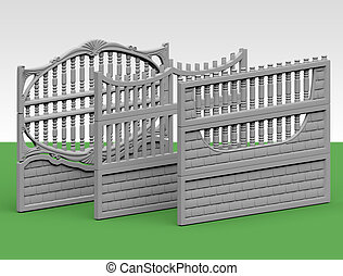 fence concrete - Illustration of a concrete fence on white...