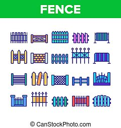 Fence Construction Collection Icons Set Vector