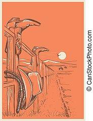 fence., cow-boy, ranch, américain, paysage, vêtements