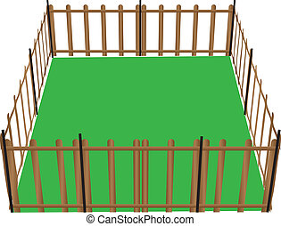 Fence for animals - Wooden fence for animals used in...
