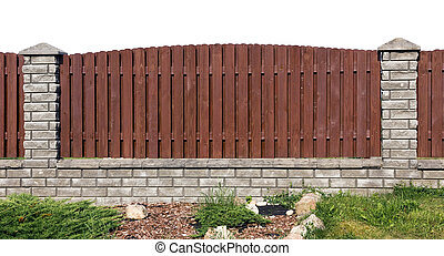 Fence fragment from planks and bricks - Ideal rural fence...
