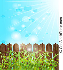 Fence, green grass and blue bokeh. Vector EPS 10.