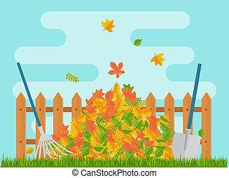 fence., hojas, otoño, mentiras, vector, pila, debajo