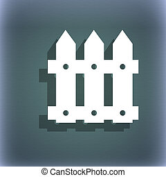 Fence icon sign. On the blue-green abstract background with shadow and space for your text.