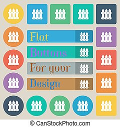 Fence icon sign. Set of twenty colored flat, round, square and rectangular buttons. Vector