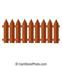 fence., illustration., appartamento, semplice, legno, vettore, style., icona