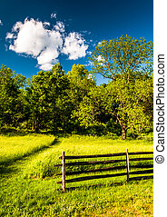 Fence in a grassy field, at Antietam National Battlefield, Maryland.