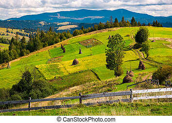 fence in front of a rural fields on hills. haystack on a...